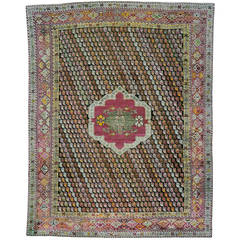 Colorful Antique Turkish Rug from Ghiordes Village