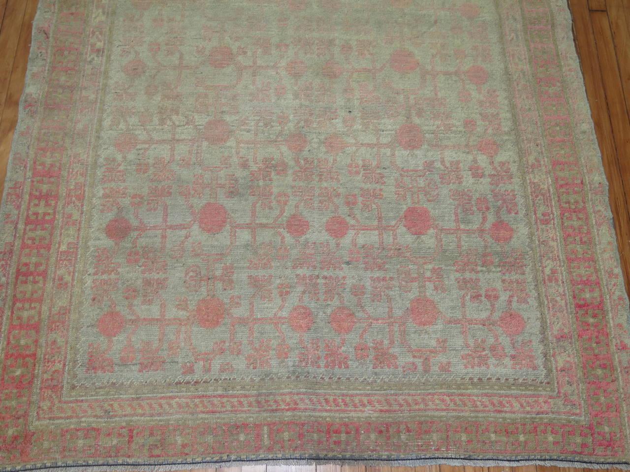 gray and pink east turkestan khotan rug at 1stdibs. Black Bedroom Furniture Sets. Home Design Ideas
