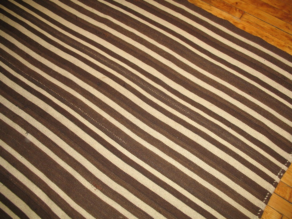 Mid-Century Modern Vintage Striped Kilim For Sale