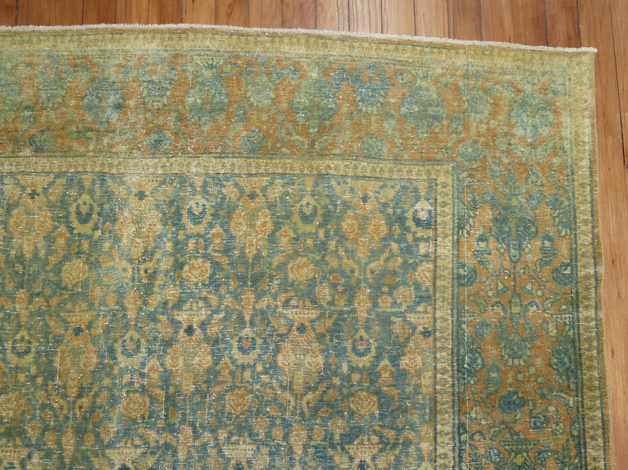 Shabby Chic Antique Persian Tabriz Rug For Sale 3