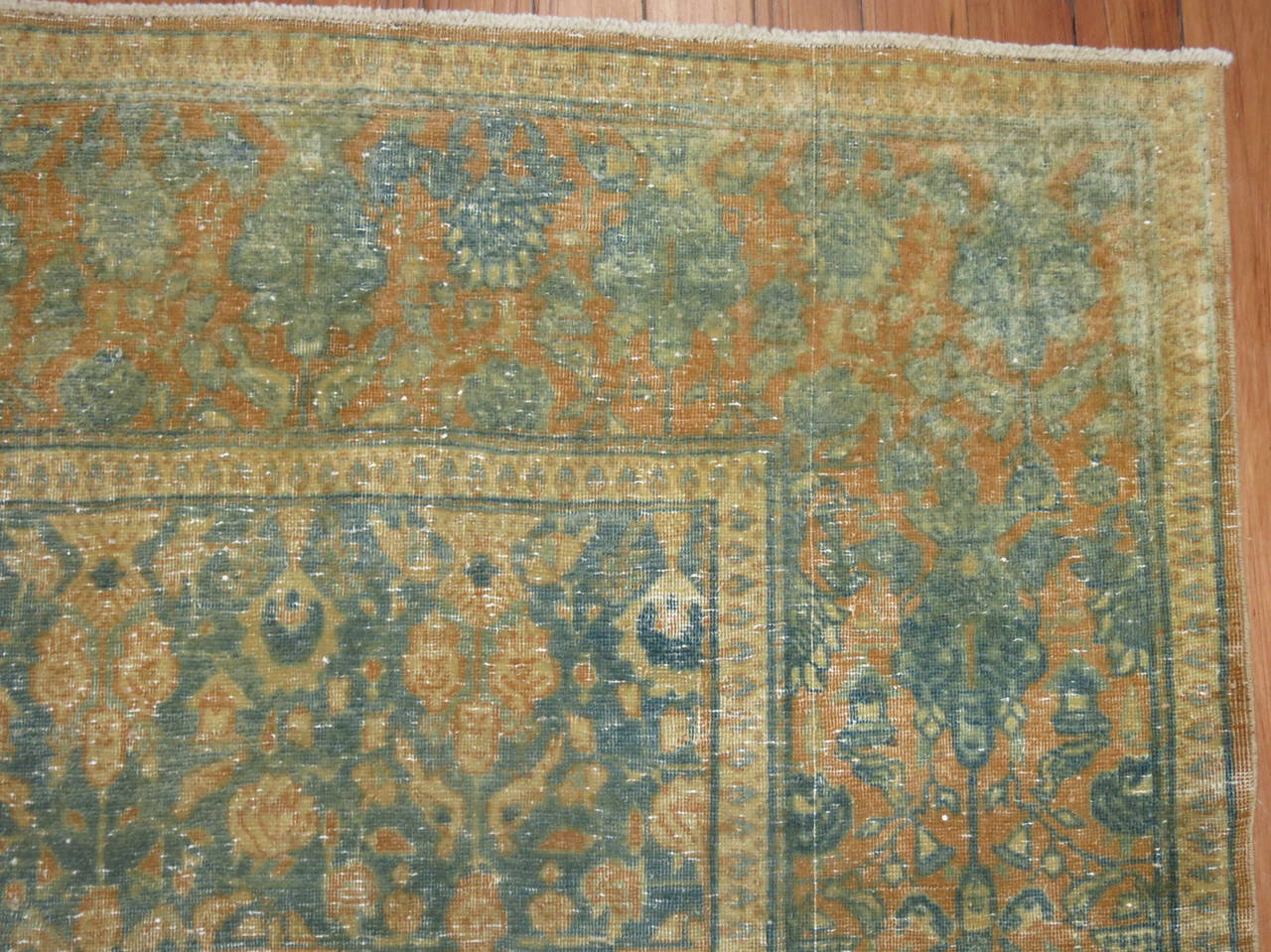 Shabby Chic Antique Persian Tabriz Rug For Sale 2