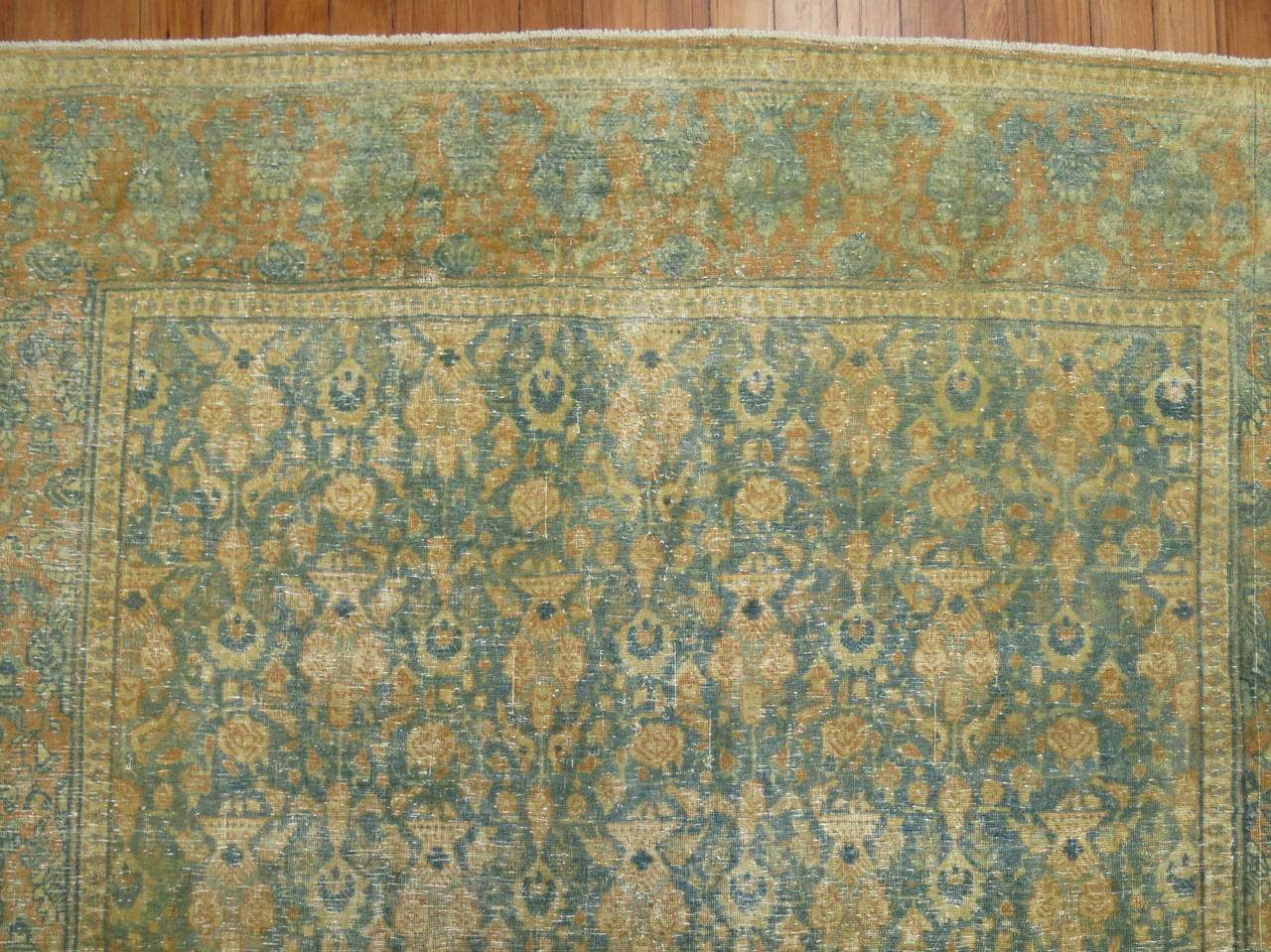 Malayer Shabby Chic Antique Persian Tabriz Rug For Sale