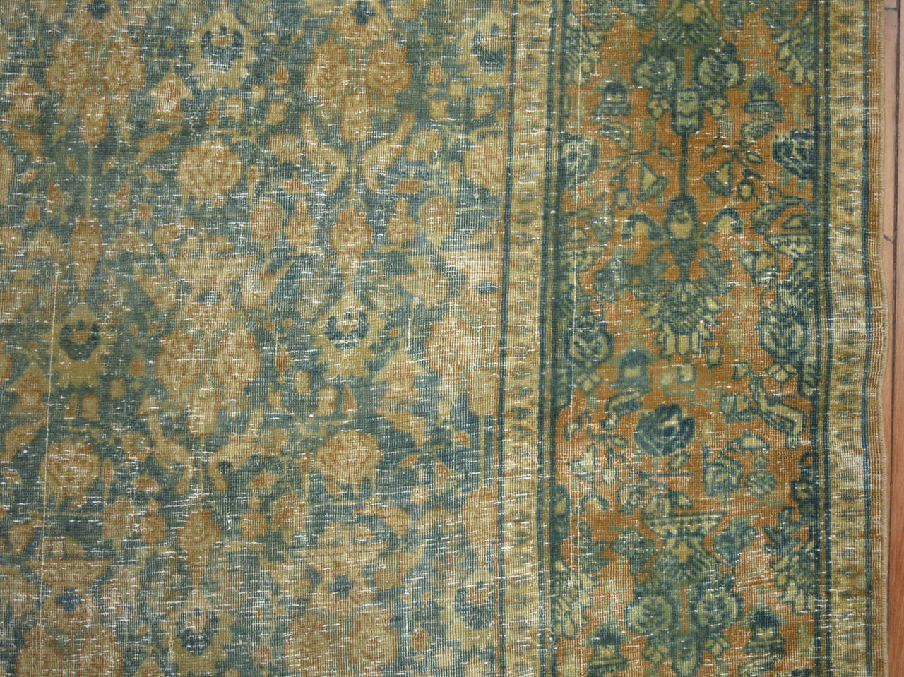 Hand-Knotted Shabby Chic Antique Persian Tabriz Rug For Sale
