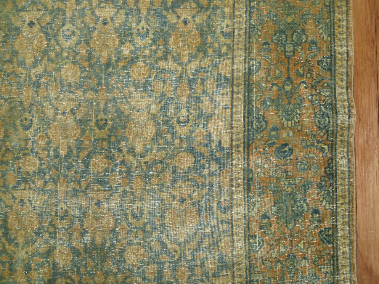 Early 20th Century Shabby Chic Antique Persian Tabriz Rug For Sale
