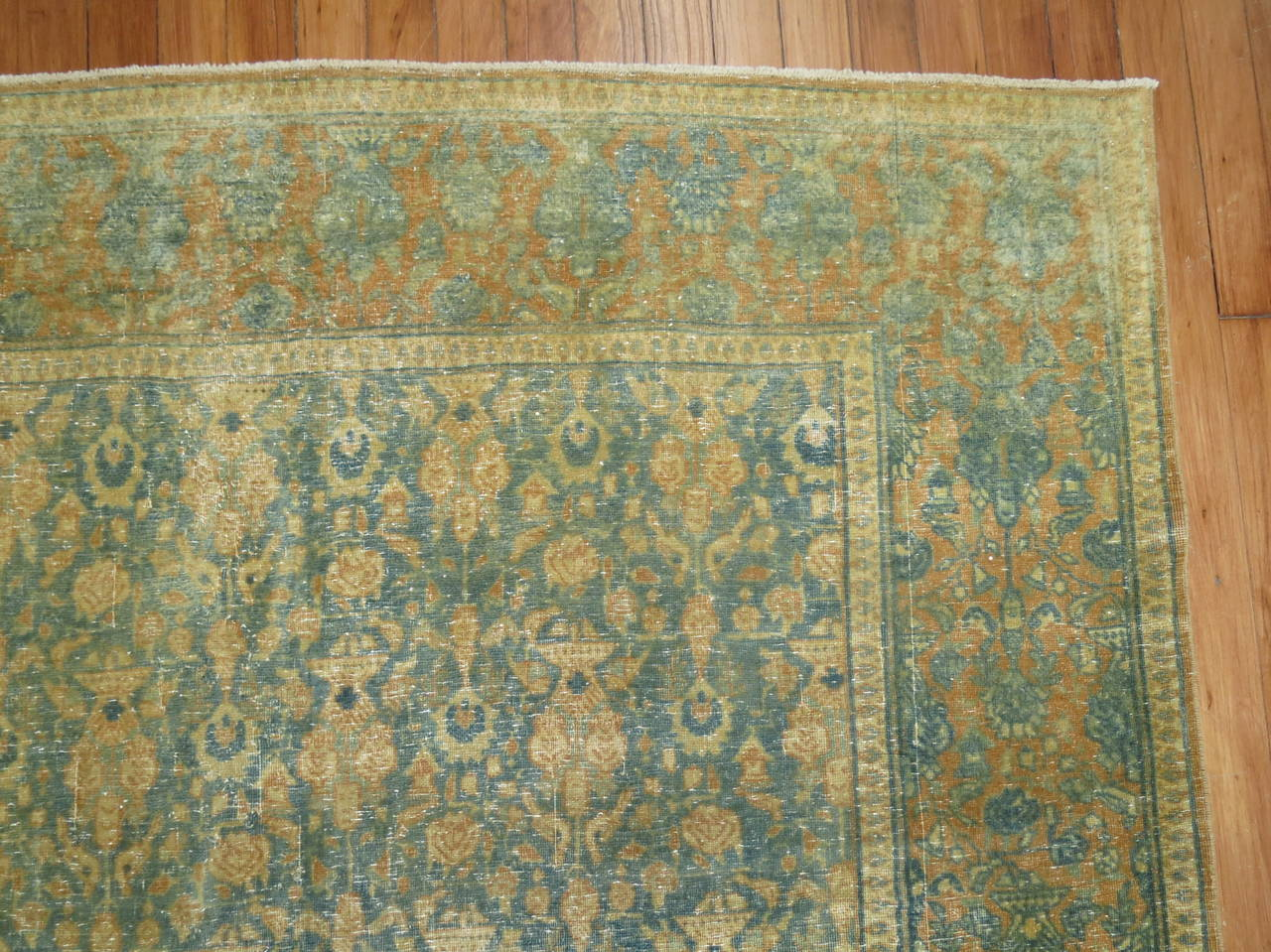 Shabby Chic Antique Persian Tabriz Rug In Excellent Condition For Sale In New York, NY