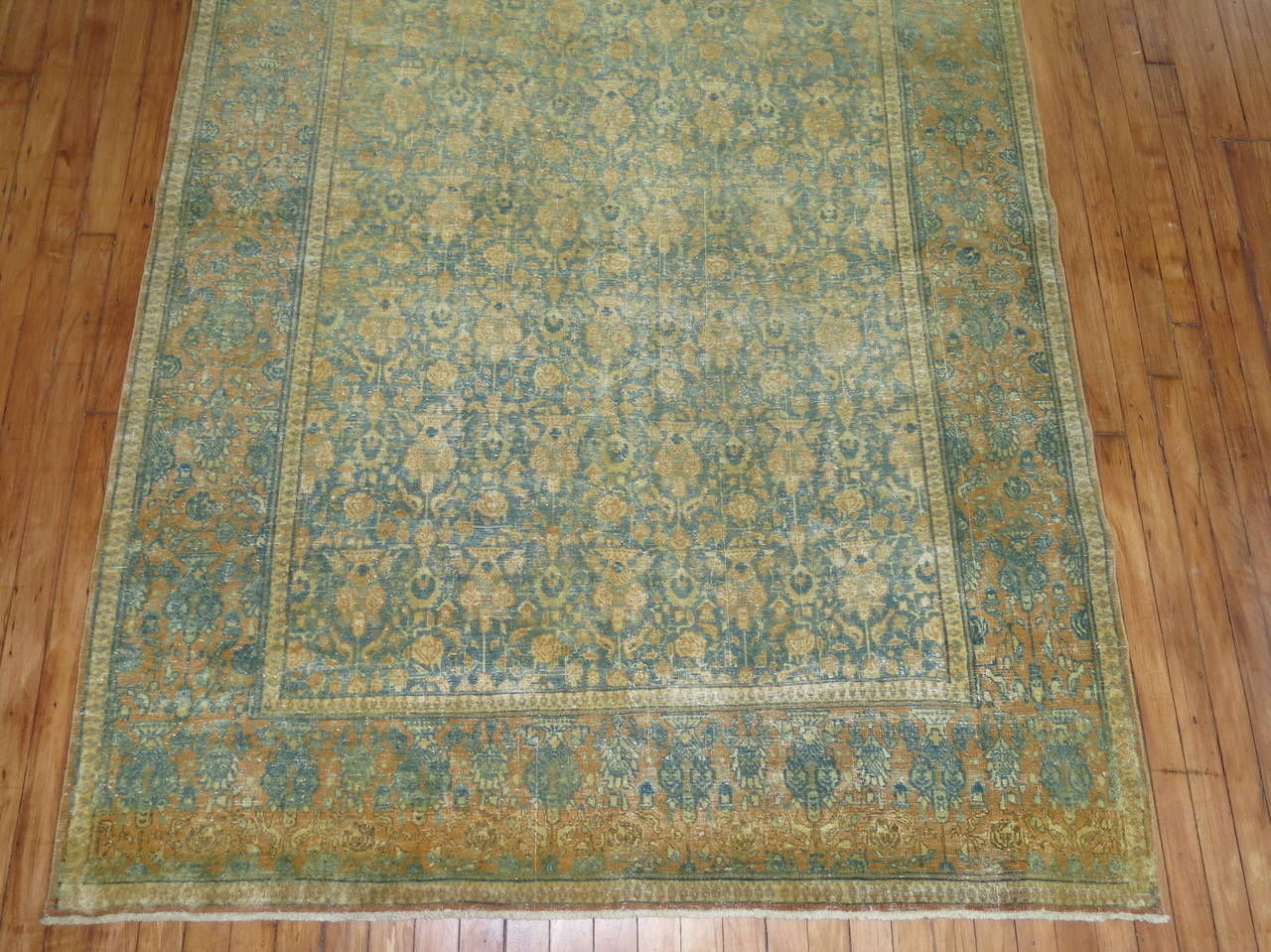 Shabby Chic Antique Persian Tabriz Rug For Sale 1