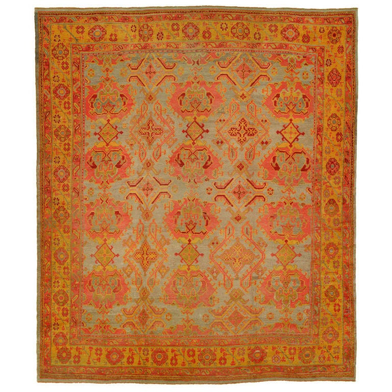 Colorful antique turkish oushak rug for sale at 1stdibs for Colorful rugs for sale