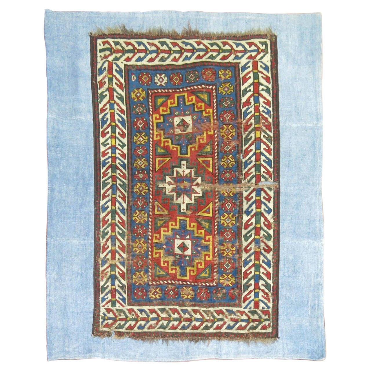 Antique Caucasian Rug On Kilim For Sale At 1stdibs