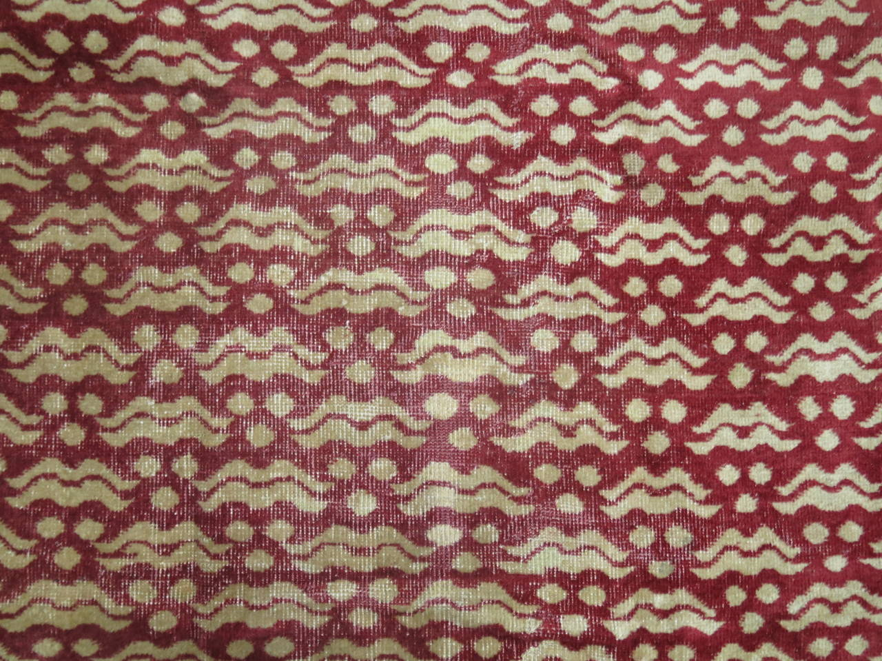 Hand-Knotted Crimson Vintage Turkish Rug For Sale