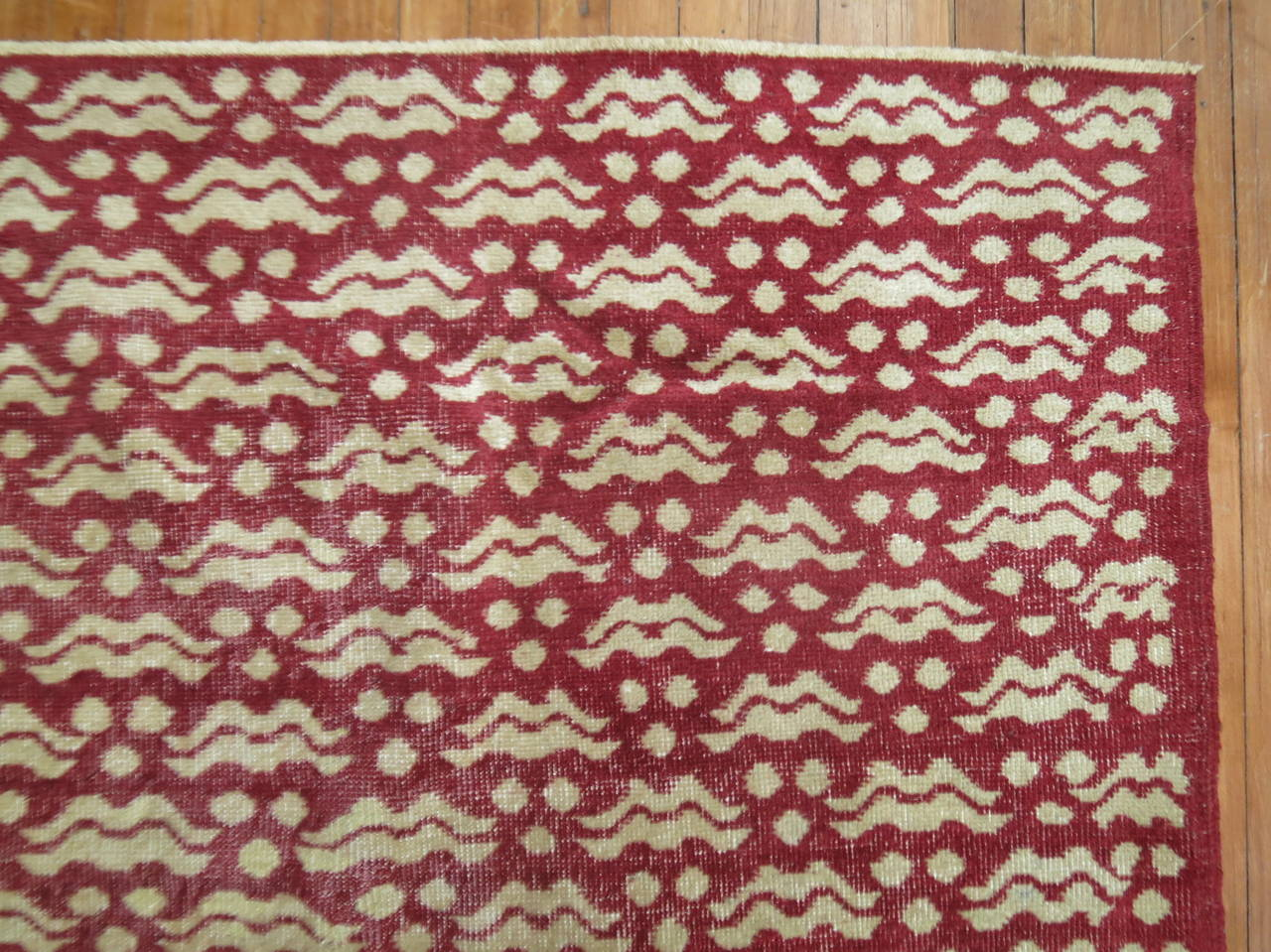 Midcentury Turkish deco rug in crimson red.