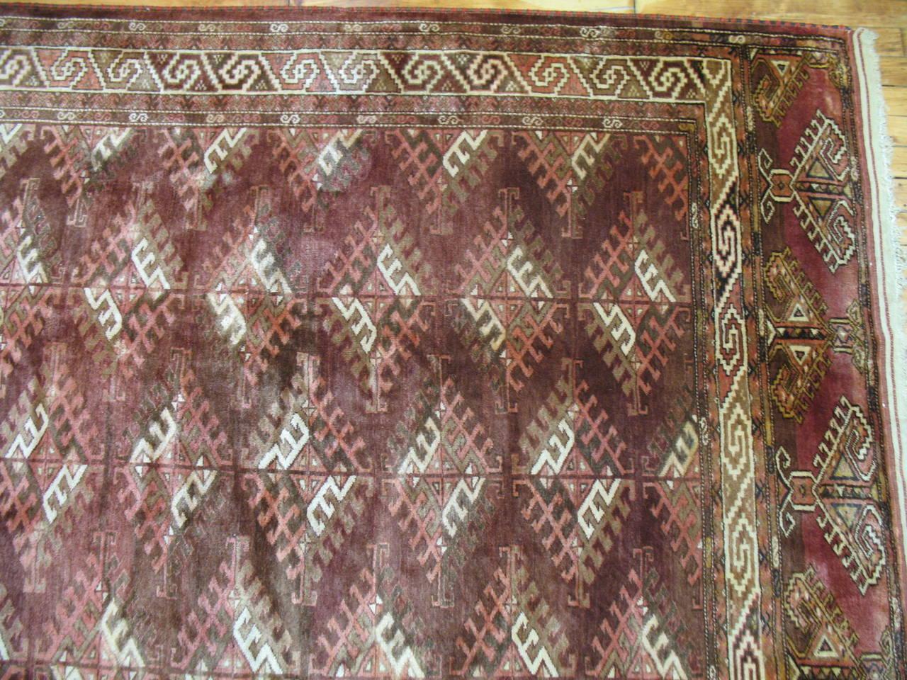 Central Asian Vintage Turkoman Turkmen Carpet For Sale