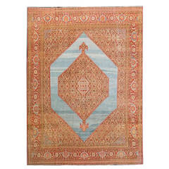 19th Century Antique Persian Tabriz Rug with Sky Blue Background
