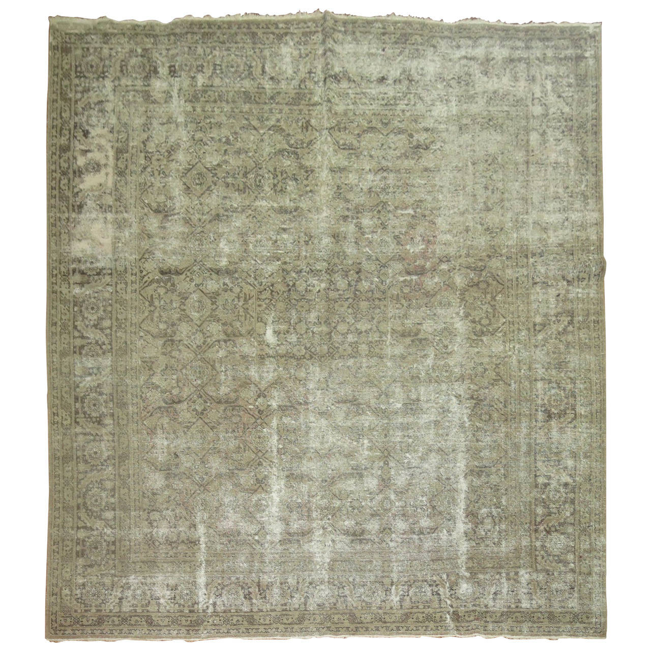 Distressed Antique Persian Tabriz Rug At 1stdibs
