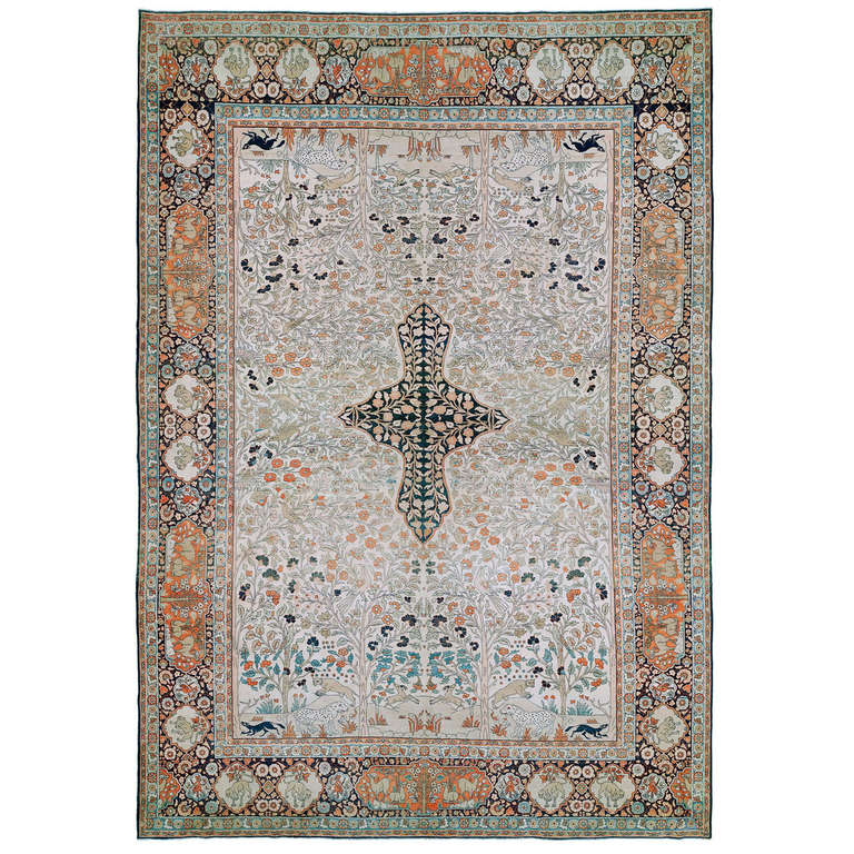 Pictorial Antique Tabriz Tree Of Life Rug For Sale At 1stdibs