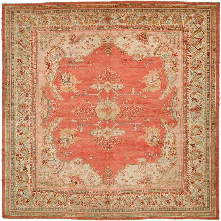 10x10 Square New Oushak Oriental Wool Area Rug: Antique Square Oushak Rug At 1stdibs