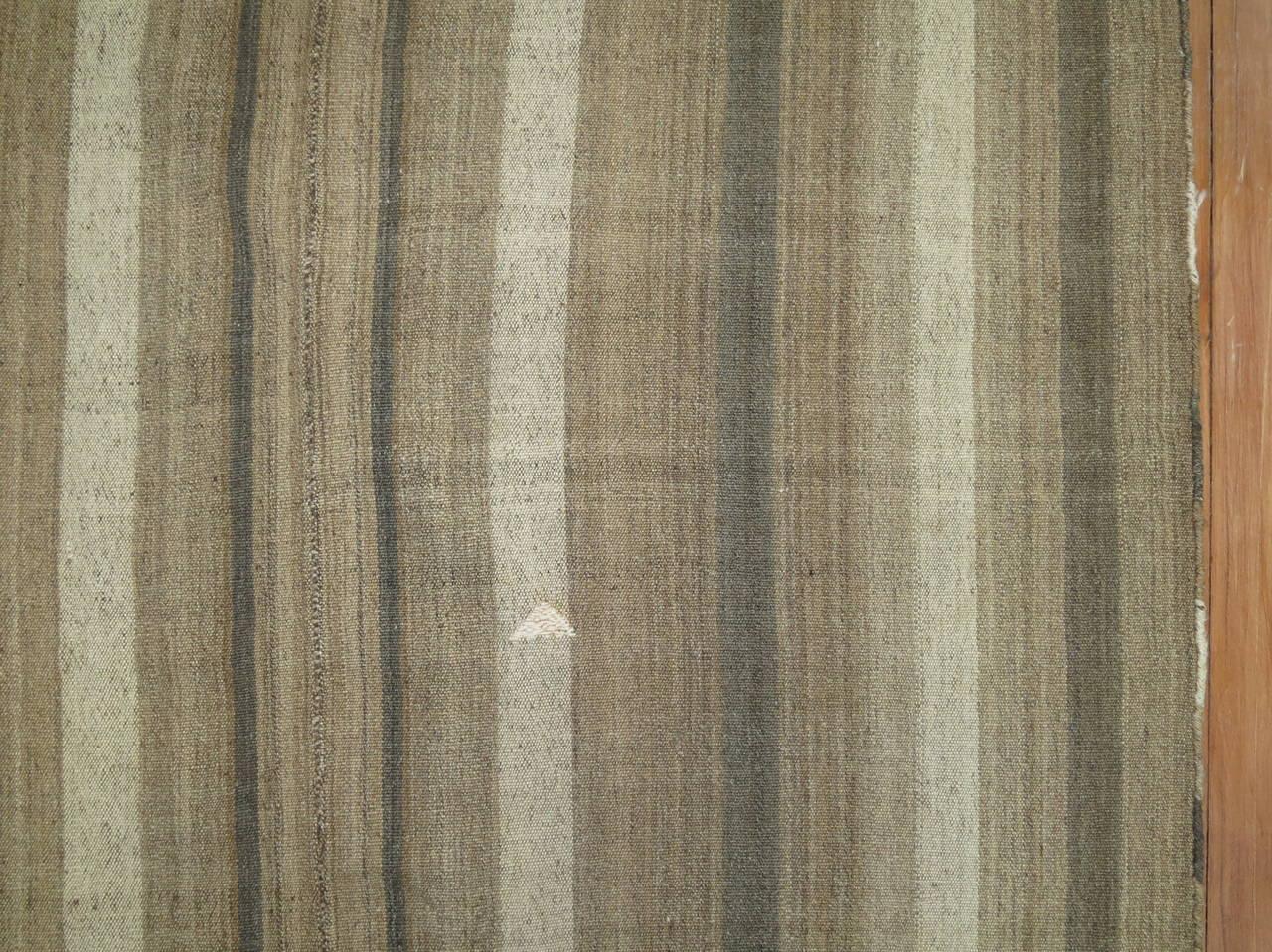 Minimalist Brown Turkish Modernist Kilim For Sale