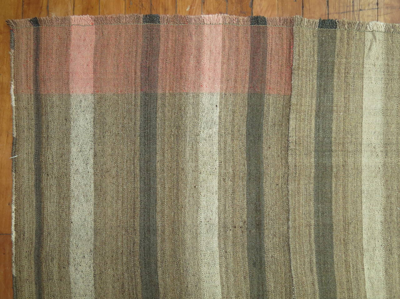 Hand-Knotted Brown Turkish Modernist Kilim For Sale