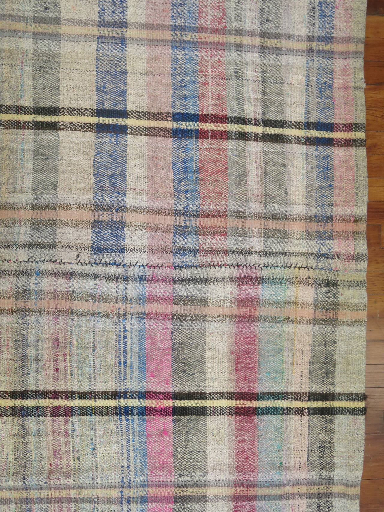 Vintage Turkish Plaid Style Kilim 4