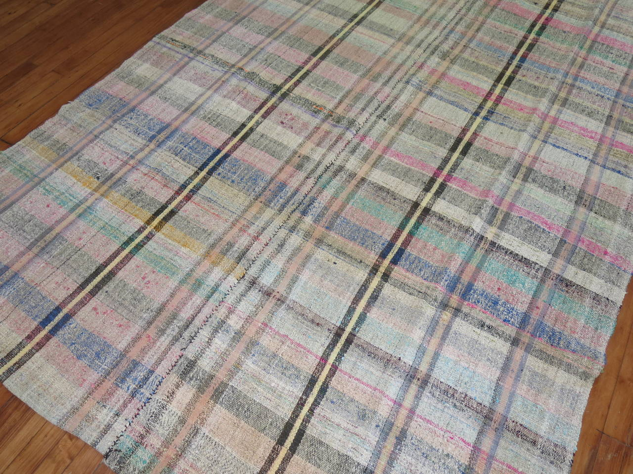 Vintage Turkish Plaid Style Kilim 7