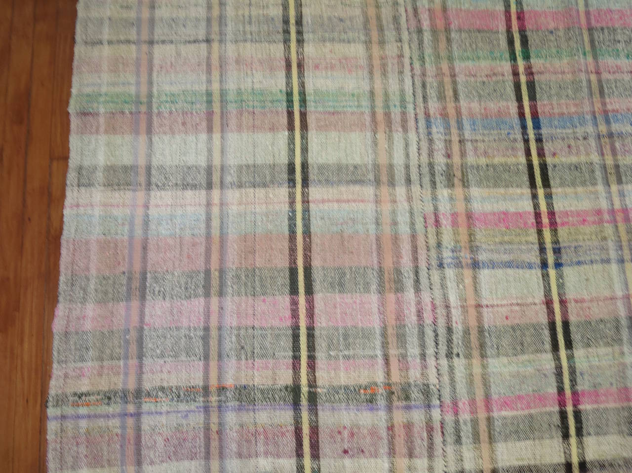Vintage Turkish Plaid Style Kilim 3