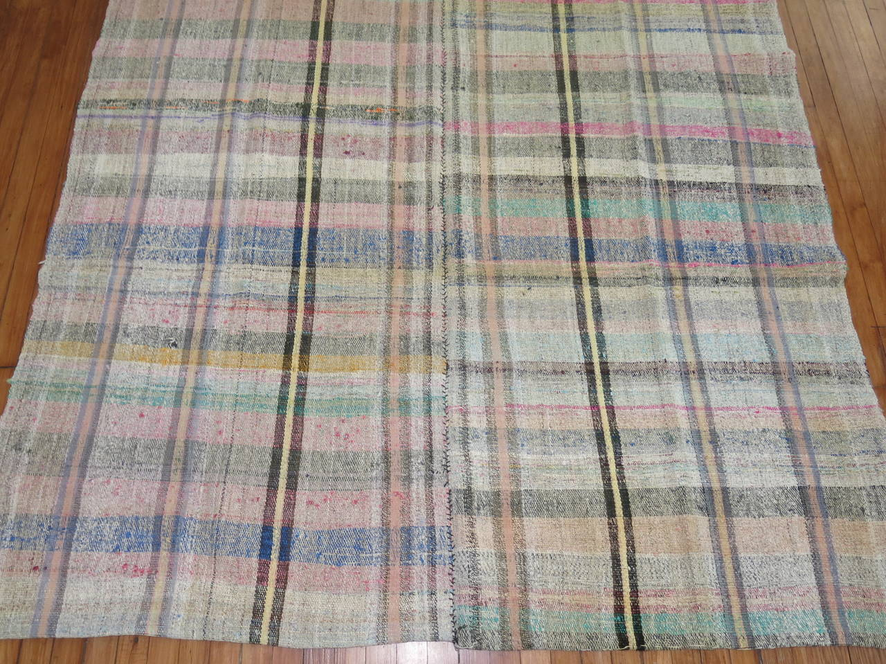 Vintage Turkish Plaid Style Kilim 6