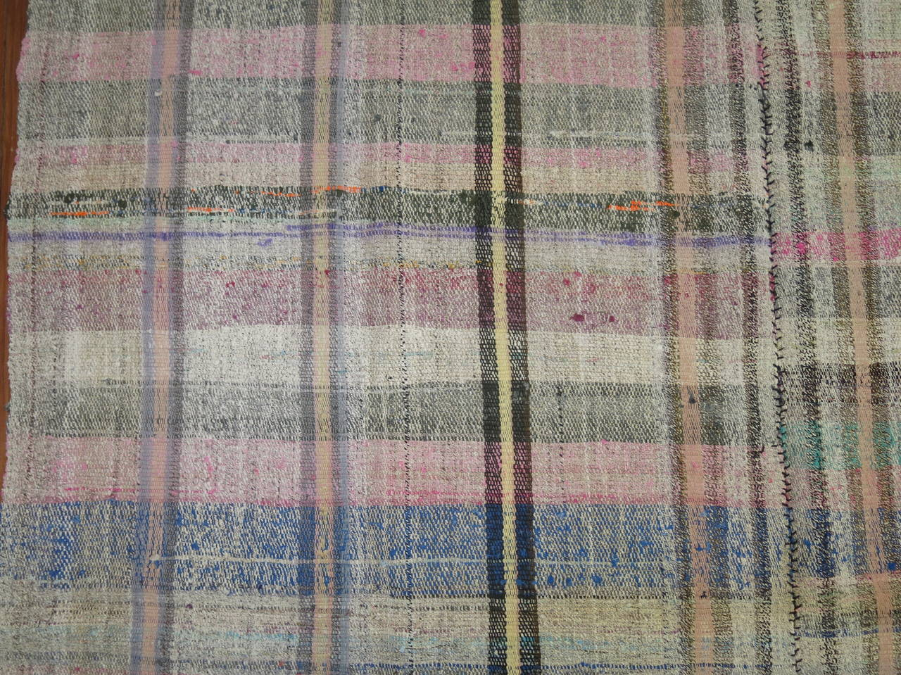Vintage Turkish Plaid Style Kilim 2
