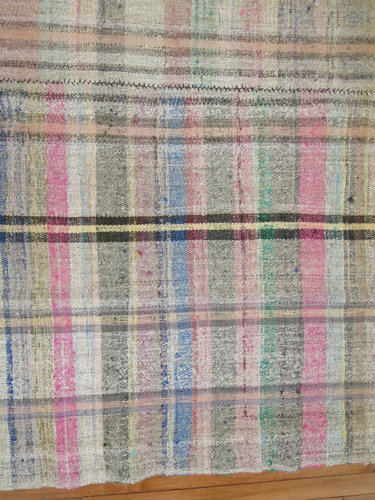 Vintage Turkish Plaid Style Kilim 5