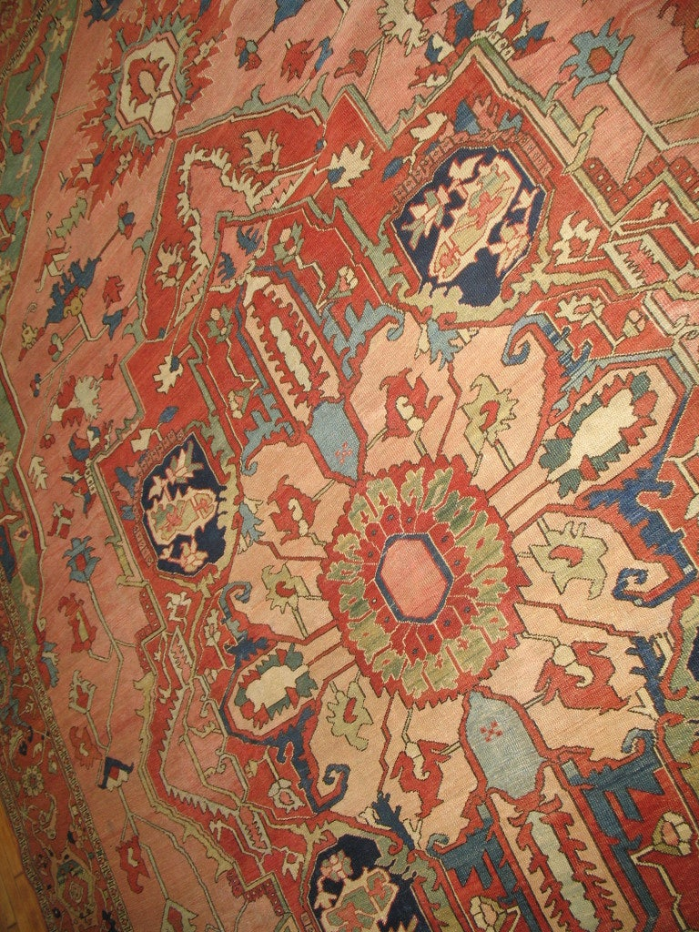 Wool Antique Persian Serapi Rug