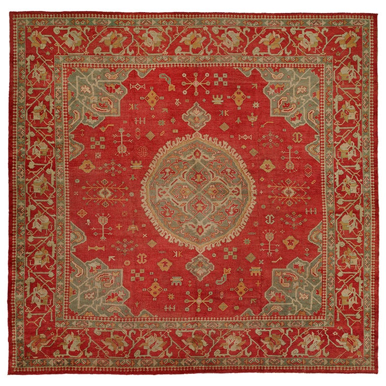 10x10 Square New Oushak Oriental Wool Area Rug: Antique Turkish Square Oushak Rug, Late 19th Century At