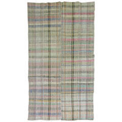Vintage Turkish Plaid Style Kilim