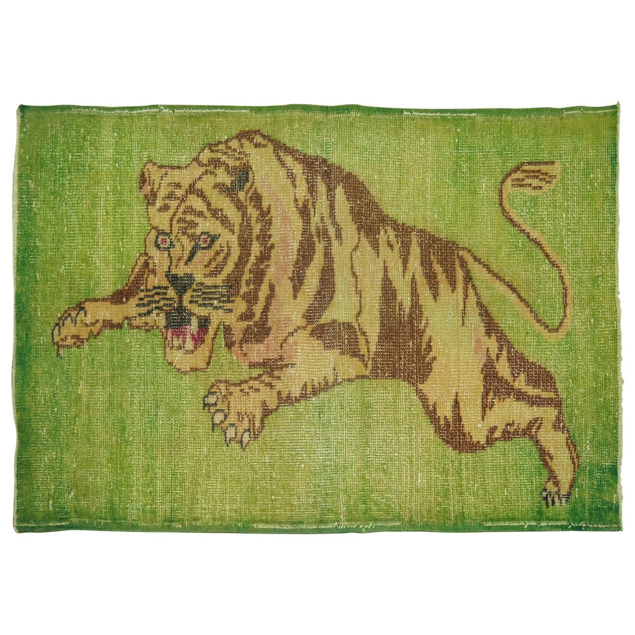 Vintage Turkish Pictorial Tiger Rug