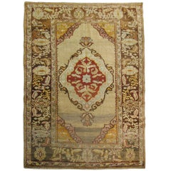 Antique Turkish Rug in Ivory and Gray
