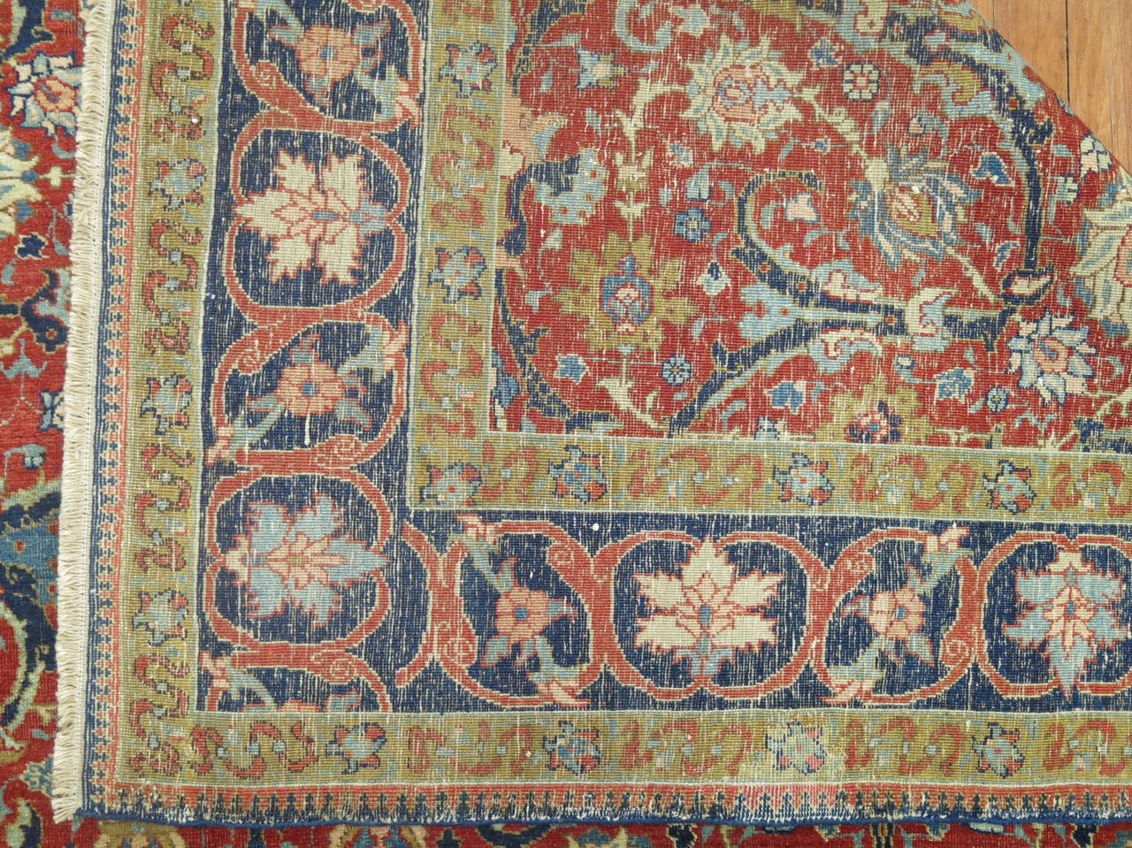 Exquisite finely woven late 19th century Persian Tabriz. Since the middle of the 19th century, Tabriz has lead a resurgence in Persian carpet-weaving both for domestic use and for export. With strict standards of craftsmanship and quality of