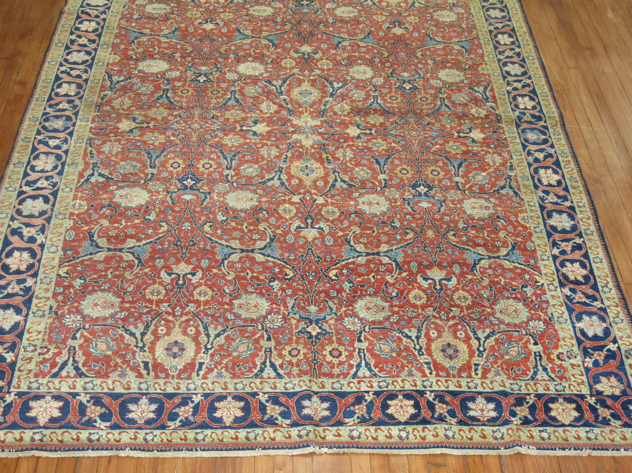 Hand-Woven 19th Century Antique Persian Tabriz For Sale