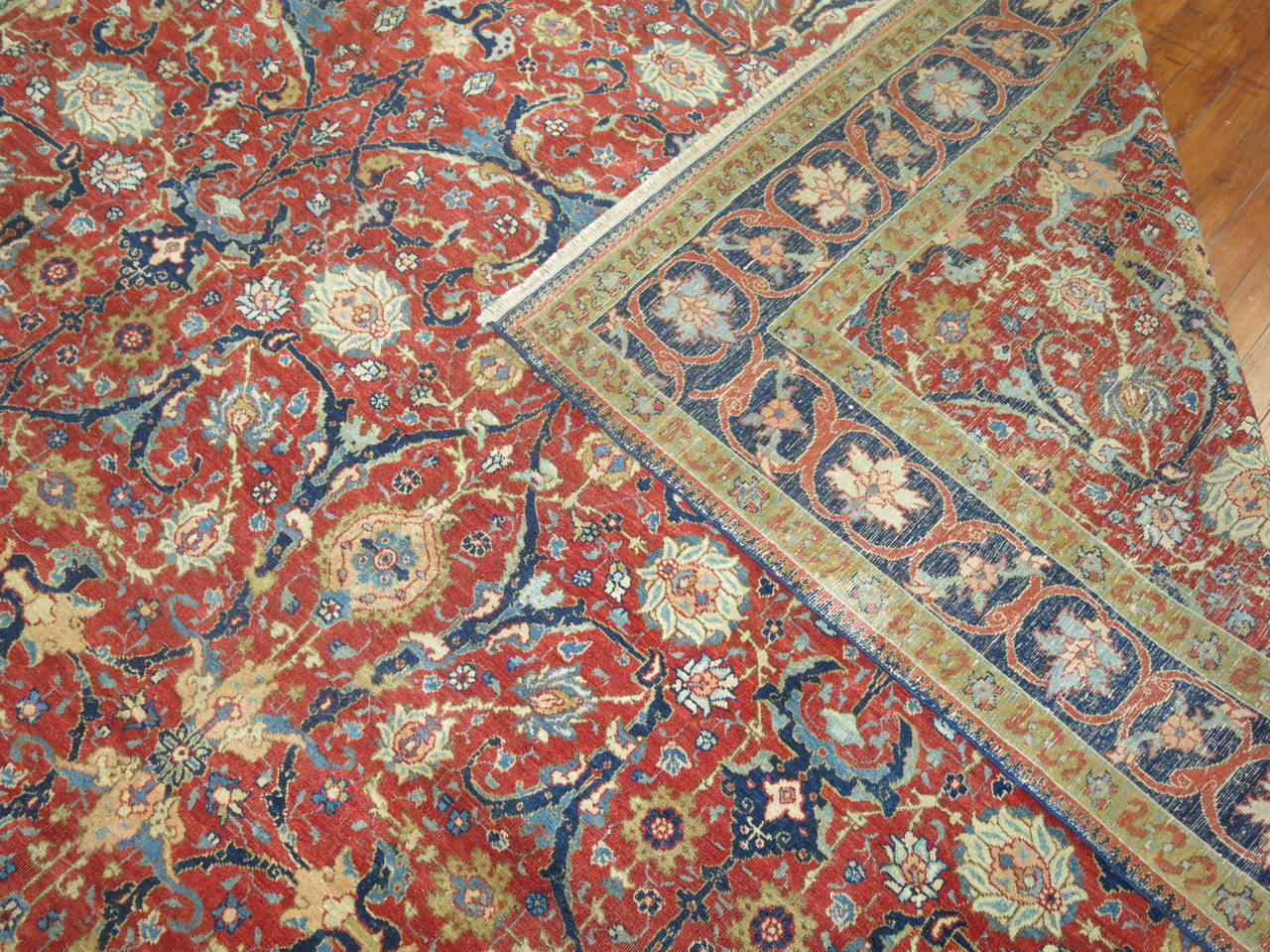 Wool 19th Century Antique Persian Tabriz For Sale
