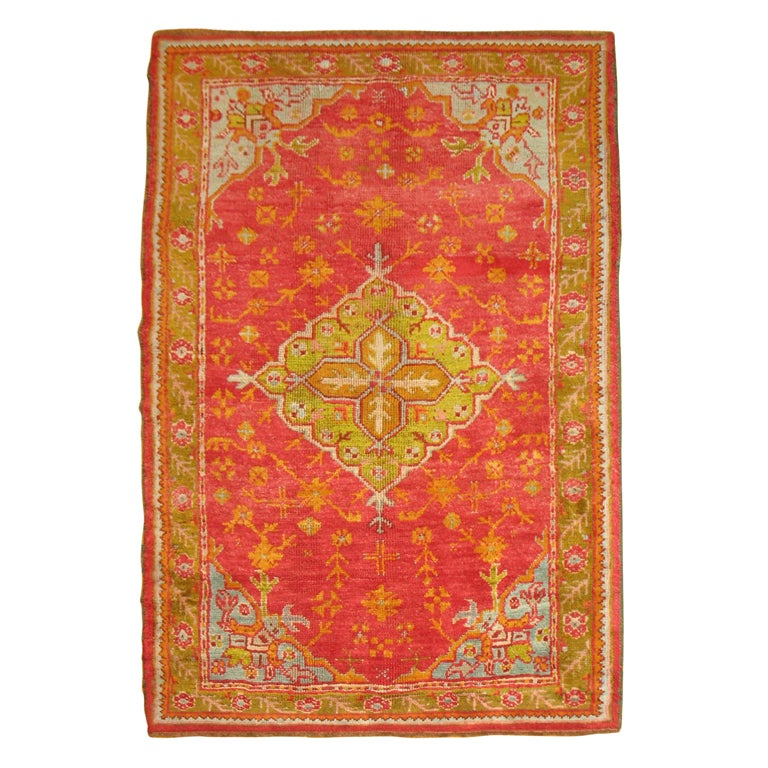Antique Turkish Oushak Rug in Bright Colors
