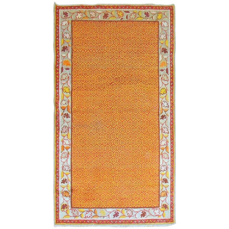 Turkish Rug Orange: Vintage Turkish Orange Anatolian Rug In Orange Peel Color