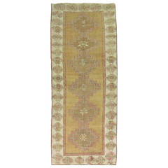 Vintage Turkish Geometric Oushak Runner