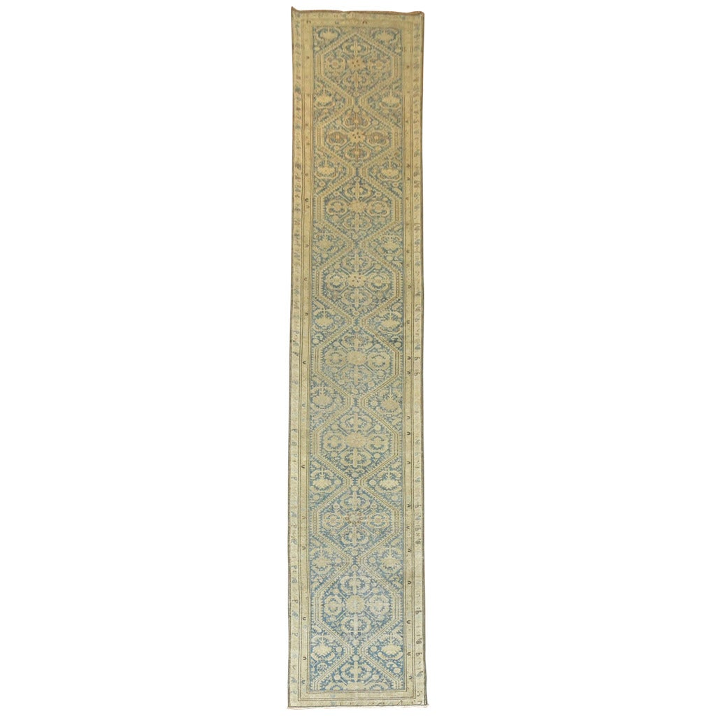 Antique Persian Light Blue Malayer Runner For Sale