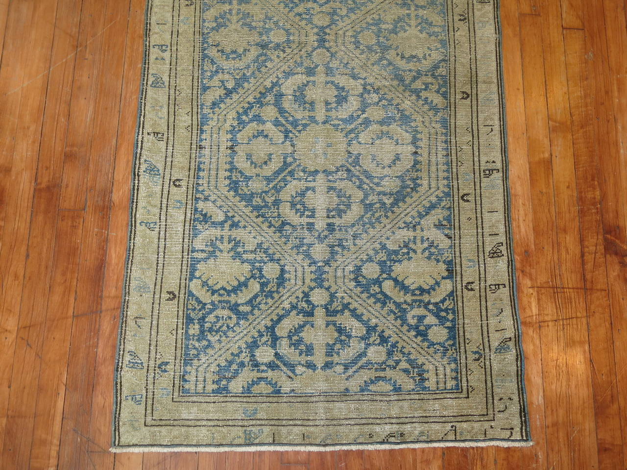 Wool Antique Persian Light Blue Malayer Runner For Sale