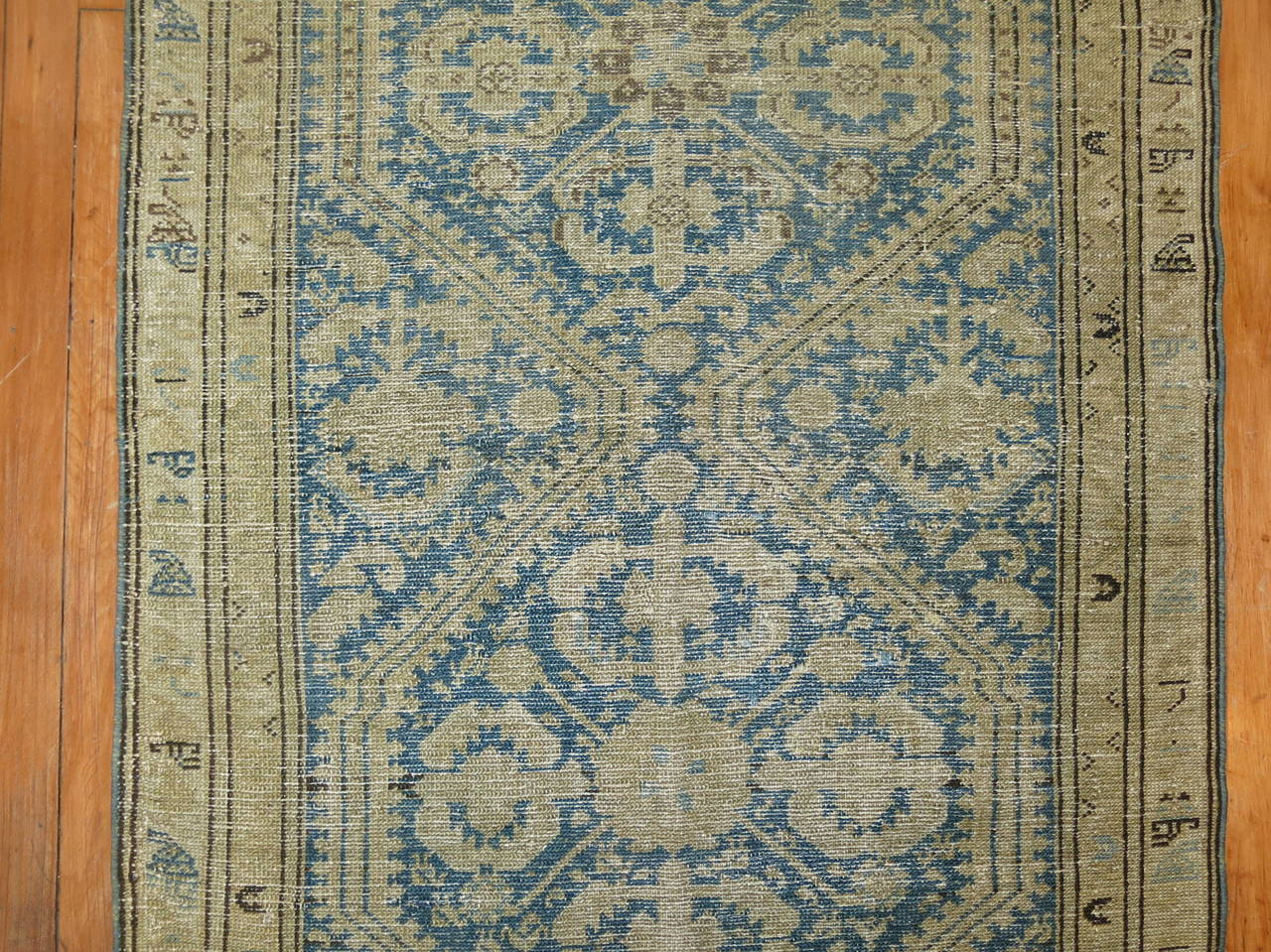 20th Century Antique Persian Light Blue Malayer Runner For Sale