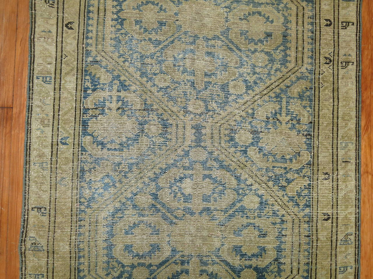 Hand-Knotted Antique Persian Light Blue Malayer Runner For Sale