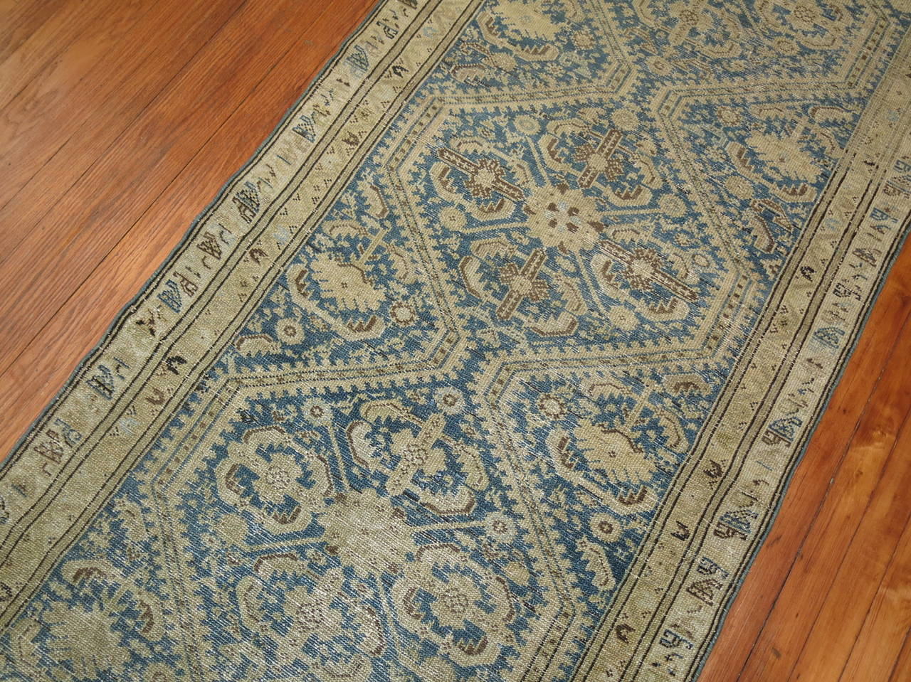 Antique Persian Light Blue Malayer Runner In Good Condition For Sale In New York, NY