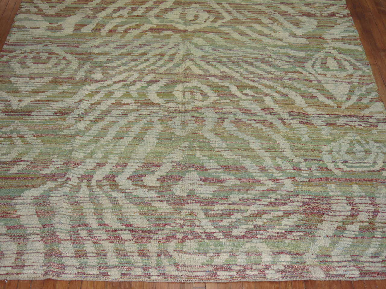 Hand-Knotted Turkish Inspired Flat-Weave Carpet For Sale