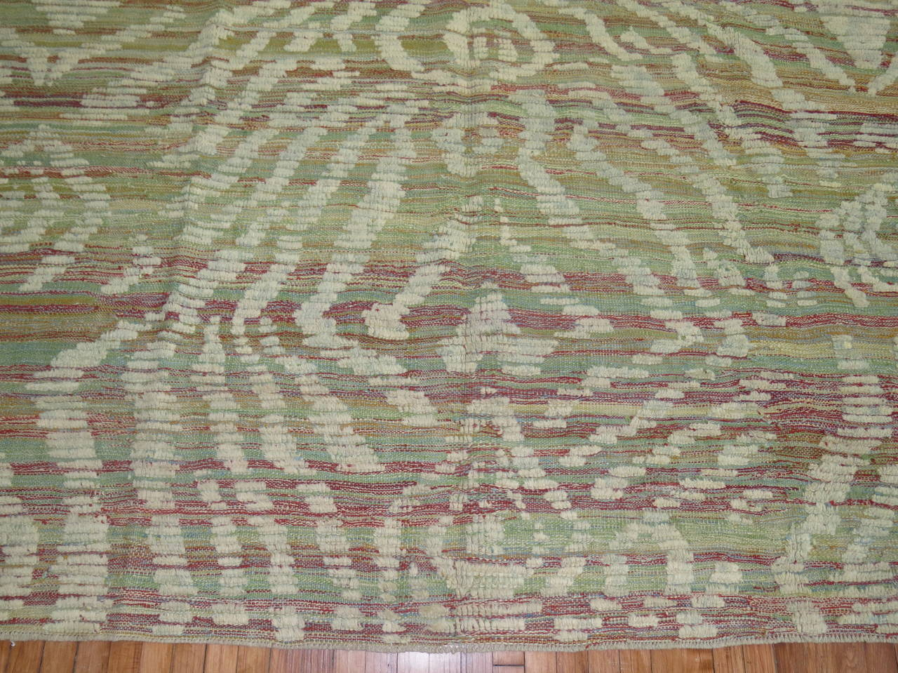 Wool Turkish Inspired Flat-Weave Carpet For Sale