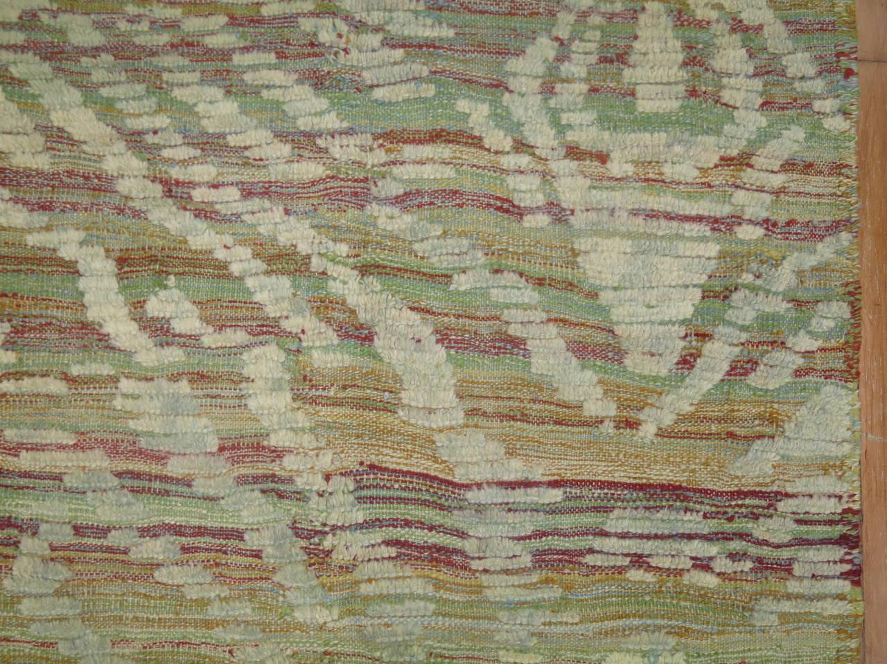 Mid-Century Modern Turkish Inspired Flat-Weave Carpet For Sale