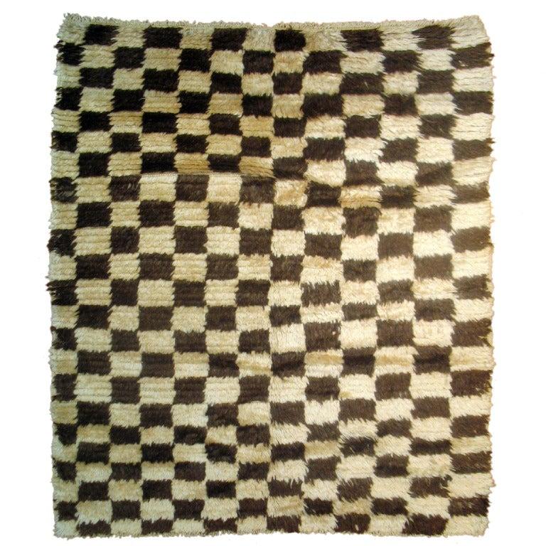 Checkerboard Rug: Turkish Shag Checkerboard Rug For Sale At 1stdibs