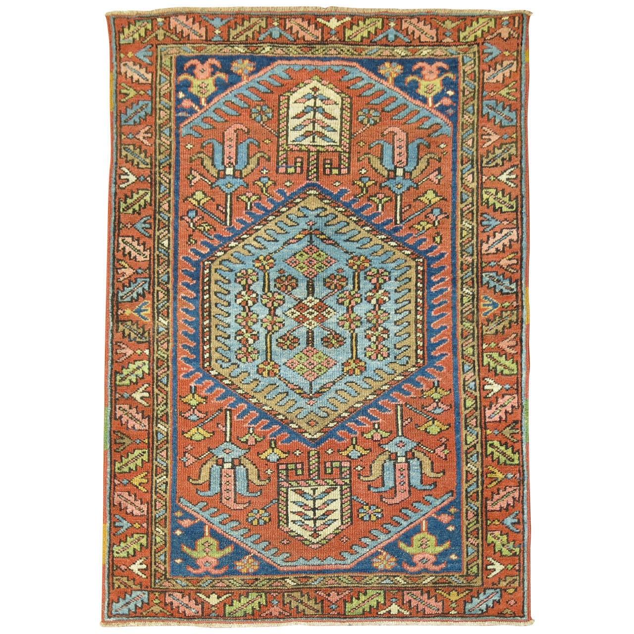 Vintage Throw Rugs: Antique Persian Heriz Serapi Throw Rug At 1stdibs