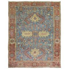Sky Blue Antique Persian Heriz Rug