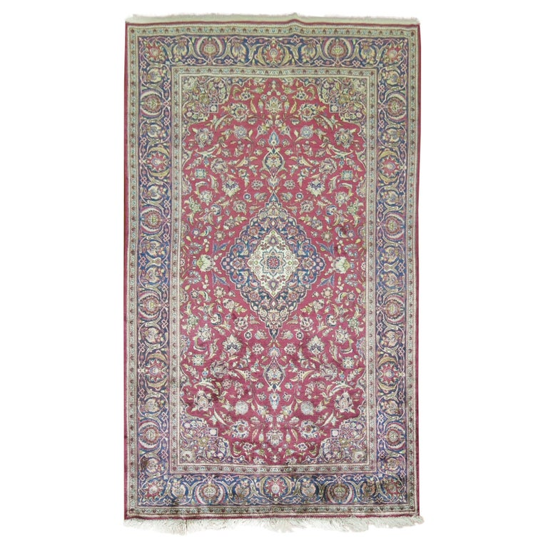 Antique Persian Silk Area Rug For Sale